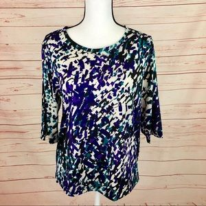 Bon Worth Abstract 3/4 Sleeve Blouse Top